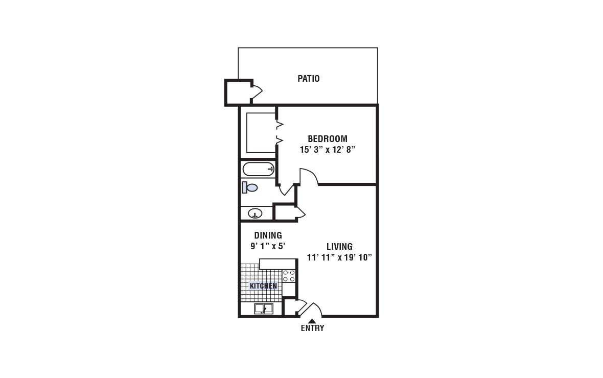 A - 1 bedroom floorplan layout with 1 bath and 696 square feet (1st floor 2D)