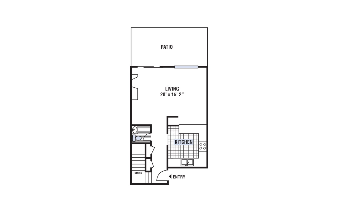 B - 2 bedroom floorplan layout with 1.5 bath and 1168 square feet (1st floor 2D)