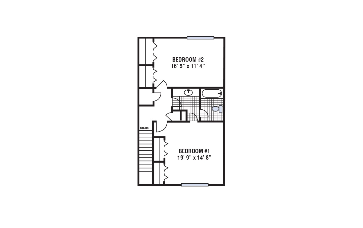 B - 2 bedroom floorplan layout with 1.5 bath and 1168 square feet (2nd floor 2D)