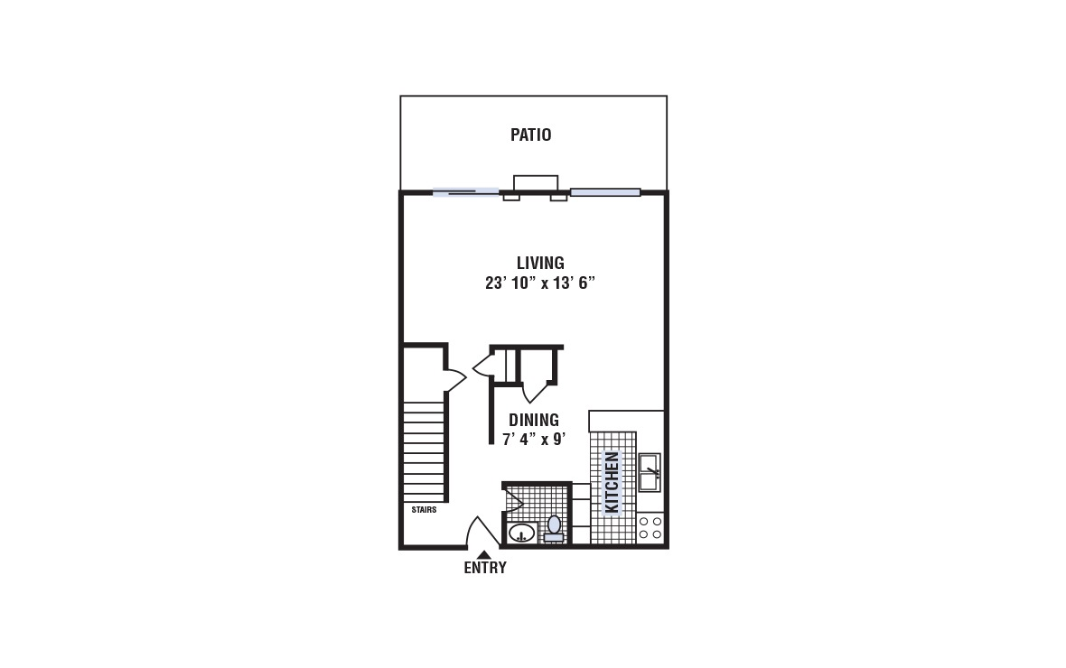 C - 3 bedroom floorplan layout with 2.5 bath and 1420 square feet (1st floor 2D)
