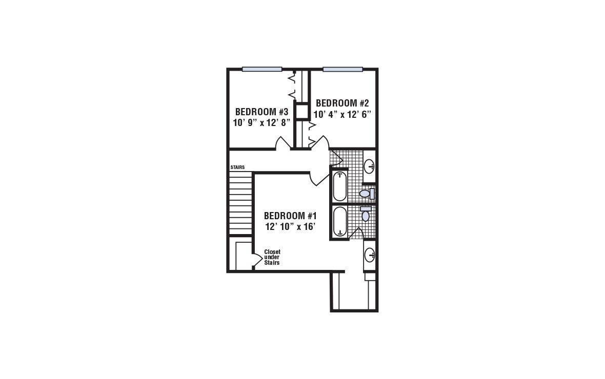 C - 3 bedroom floorplan layout with 2.5 bath and 1420 square feet (2nd floor 2D)