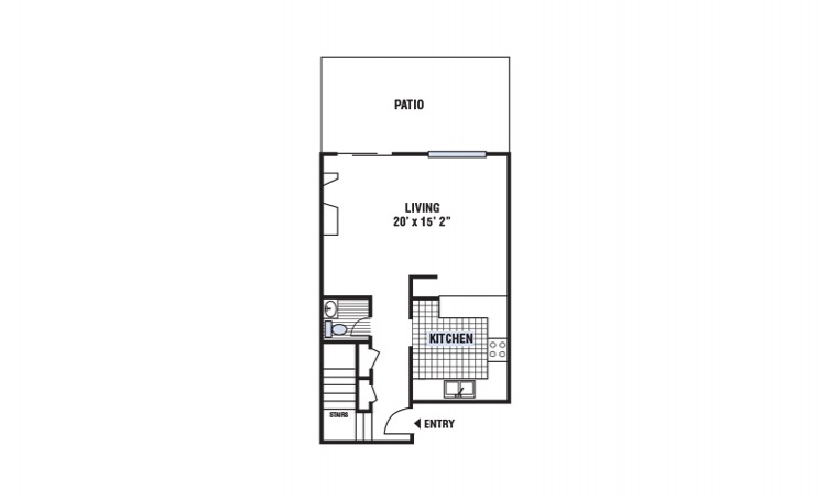 B - 2 bedroom floorplan layout with 1.5 bath and 1168 square feet
