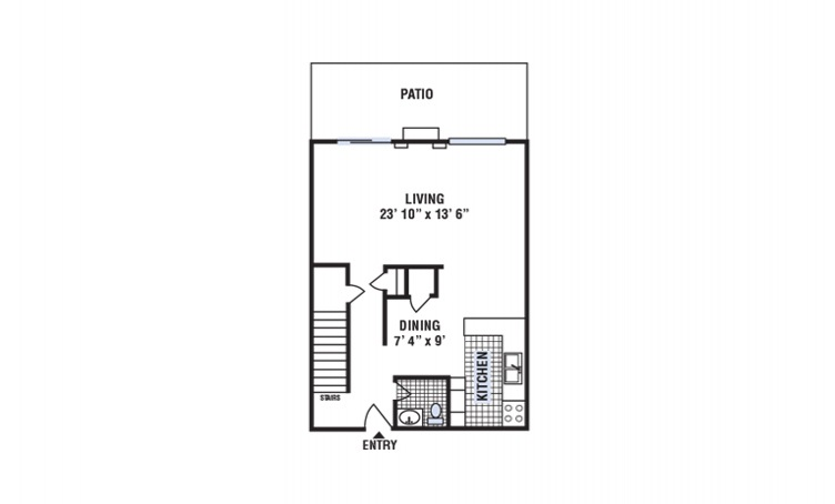 C - 3 bedroom floorplan layout with 2.5 bath and 1420 square feet